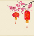chinese new year two red lanterns on a branch of vector image vector image