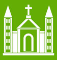 christian catholic church building icon green vector image vector image