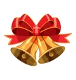 Christmas bells with red bow icon cartoon style vector image vector image