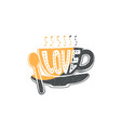 coffee cup silhouette with word love cartoon vector image vector image