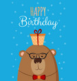cute hand drawn card as funny bear with gift vector image vector image