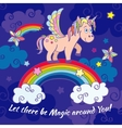 Cute unicorn and rainbow fairy background vector image vector image
