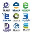 elegant letter e logo set vector image vector image
