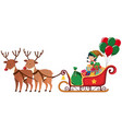 elf riding on sledge with two reindeers vector image