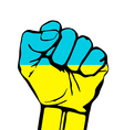 fist icon colored in Ukraine flag color vector image