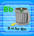 flashcard letter b is for bin vector image