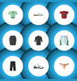 flat icon clothes set of t-shirt stylish apparel vector image vector image