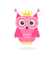 funny pink owl with crown isolated on white vector image vector image