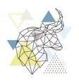 geometric bull silhouette on triangle background vector image vector image