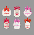 gift tags with hearts and ribbons valentines day vector image