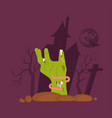green zombie hand rising out of a grave vector image