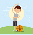 happy boy with sport basketball ball vector image