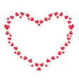 heart frame made of red folded paper hearts vector image