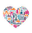 heart symbols icons world tourist attractions vector image vector image