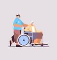 helper taking care senior disabled patient vector image