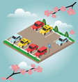 isometric cars in the car parking spring time vector image vector image