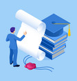 isometric concept education graduation vector image
