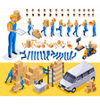 isometric set create your character courier vector image
