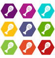 leg of pork icon set color hexahedron vector image vector image