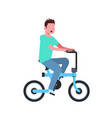 man cycling electric bike over white background vector image