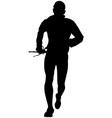 man skyrunner with trekking pole vector image vector image