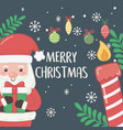 merry merry christmas card with santa claus and vector image vector image