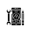 mobile development black icon sign on vector image vector image