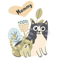 mother cat and her baby kitten vector image