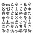 nature line icons minimalist park animals vector image