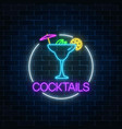 neon sambuca cocktail sign in circle frame vector image