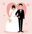 newlywed couple in love bride and groom in full vector image vector image