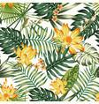 orange flowers green leaves seamless pattern vector image vector image
