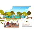 people group wear digital glasses having picnic in vector image