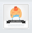 redhead muscular pirate bearded filibuster scary vector image vector image