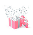 sant valentines day festive design pink gift box vector image vector image