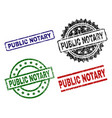 scratched textured public notary seal stamps vector image