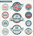 set of retro vintage blue and red badges and vector image