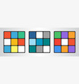 set of three colored cubes in flat style vector image vector image