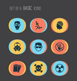 sign icons set with respirator poison headwear vector image