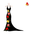 silhouette a dress with flowers and lace vector image vector image