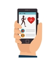 smartphone with fitness app isolated icon vector image vector image