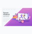 sport medicine landing page concept vector image vector image