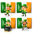 St Patrick day theme with elf and flag vector image