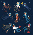 successful business people in suits and astronaut vector image vector image
