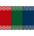 three semless knitted christmas ornaments red vector image vector image