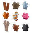 winter gloves collection set different gloves vector image