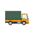 yellow small covered truck isolated vector image