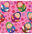 Seamless dolls and abstract pattern vector image