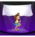 A young girl performing at the stage with an empty vector image vector image