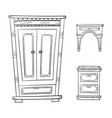 antique furniture set - closet dresser vector image vector image